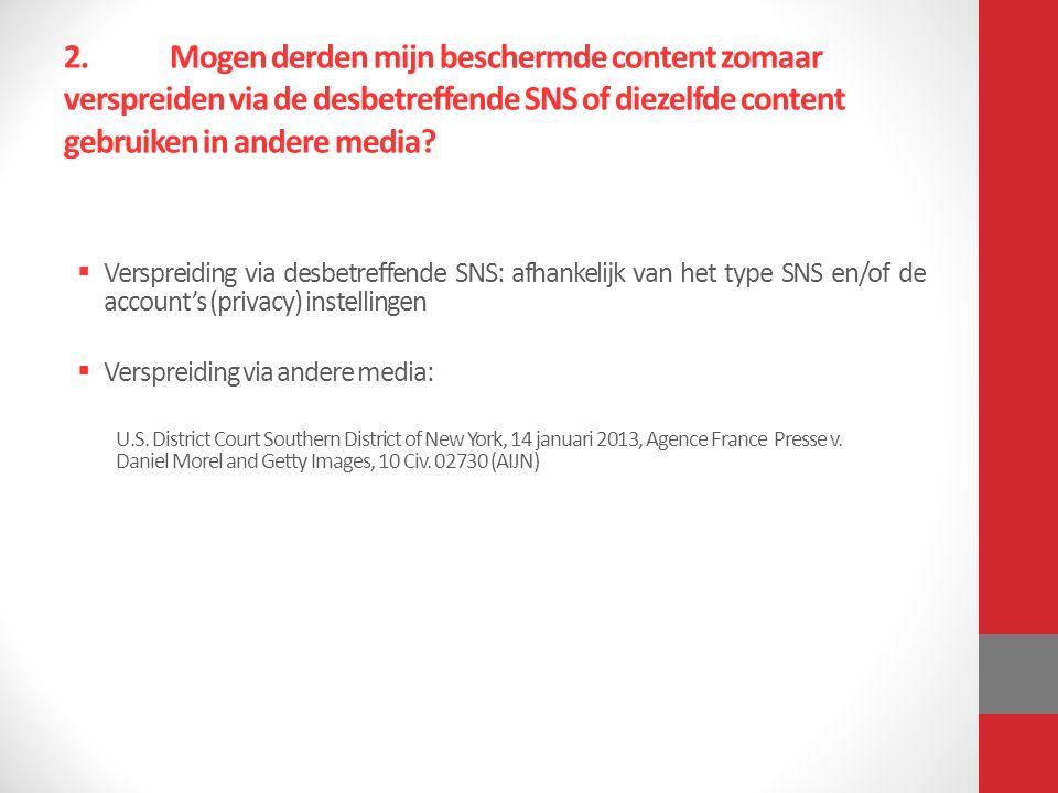 2.Mogen derden mijn beschermde content zomaar verspreiden via de desbetreffende SNS of diezelfde content gebruiken in andere media.