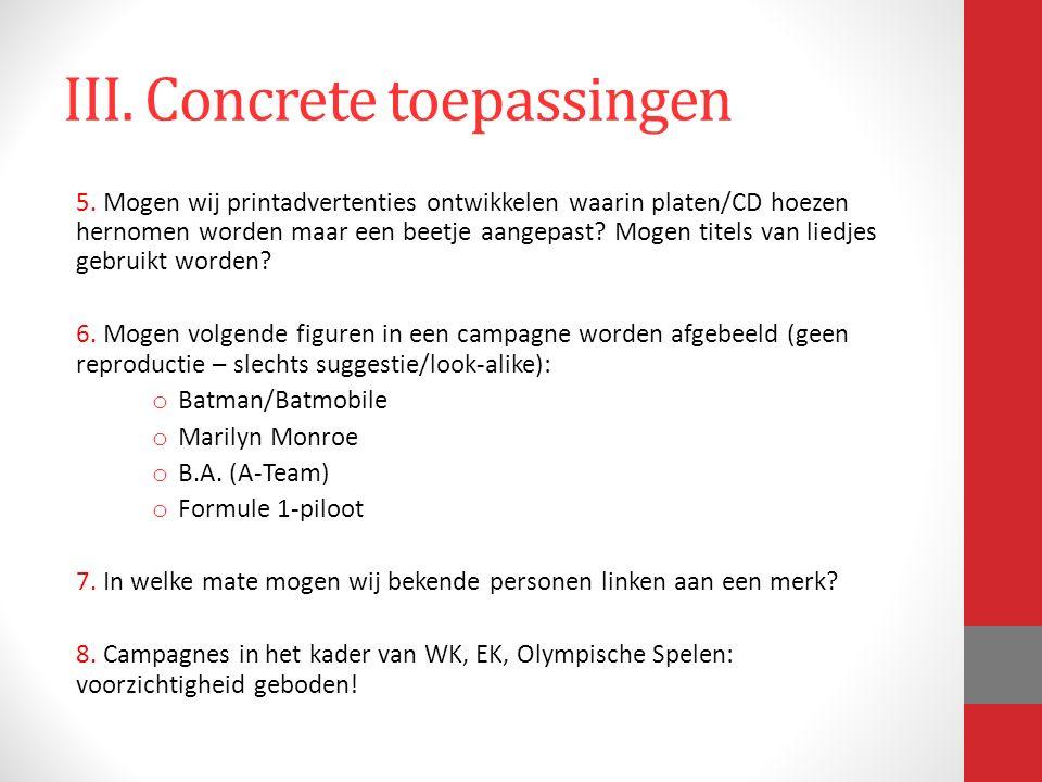 III. Concrete toepassingen 5.