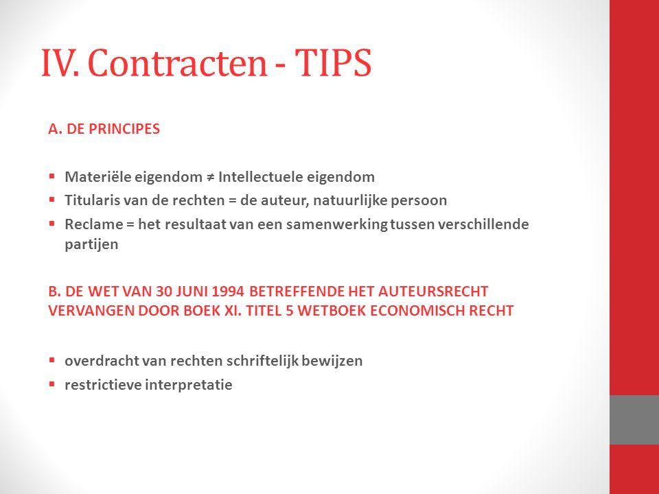 IV. Contracten - TIPS A.