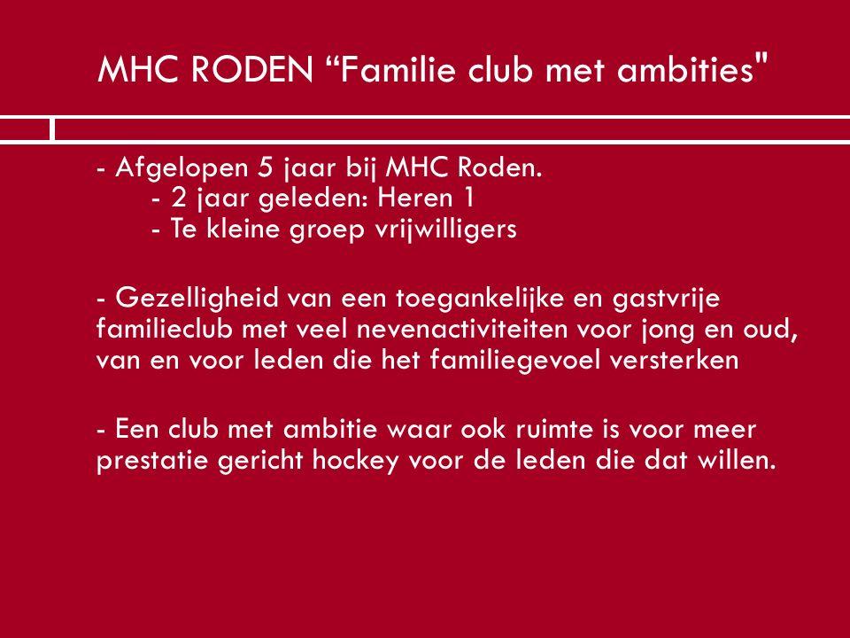 """MHC RODEN """"Familie club met ambities"""