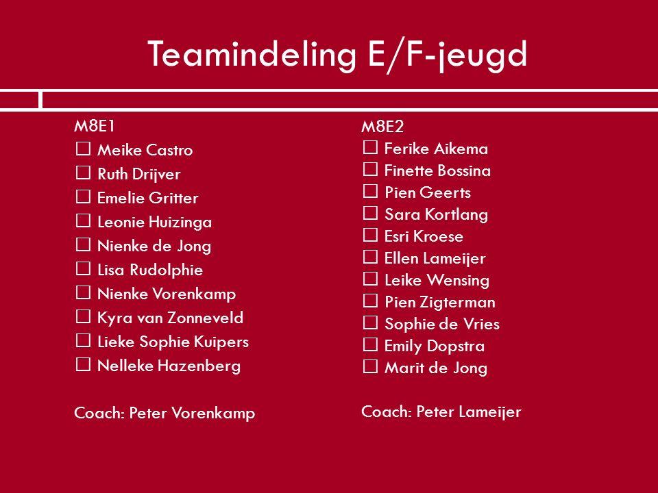 Teamindeling E/F-jeugd  M8E1   Meike Castro   Ruth Drijver   Emelie Gritter   Leonie Huizinga   Nienke de Jong   Lisa Rudolphie   Nienk