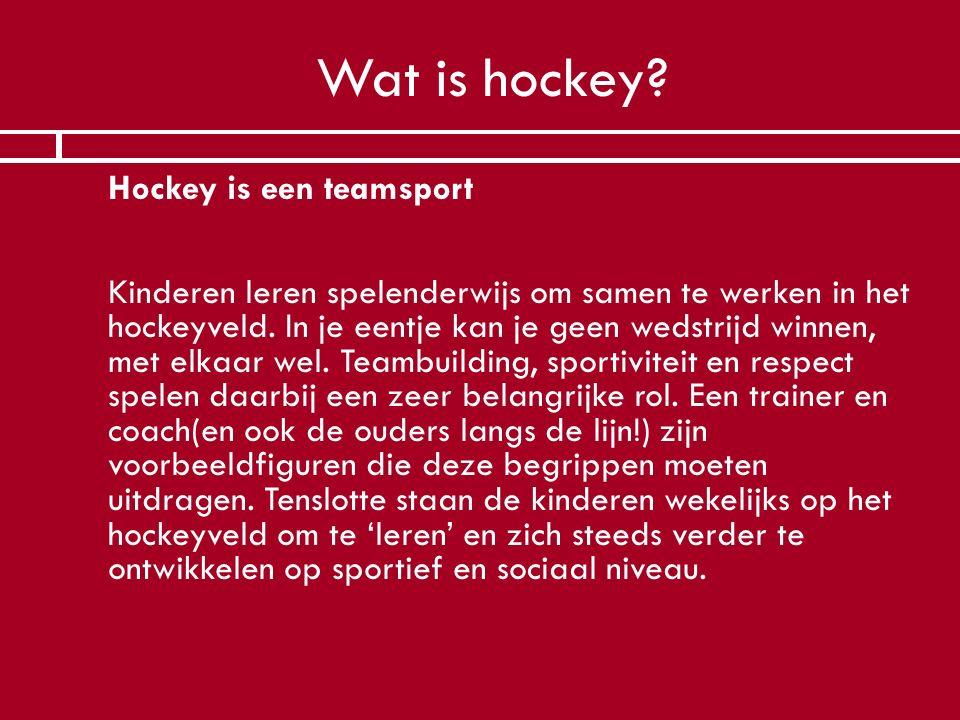 Wat is hockey?  Hockey is een teamsport Kinderen leren spelenderwijs om samen te werken in het hockeyveld. In je eentje kan je geen wedstrijd winnen,