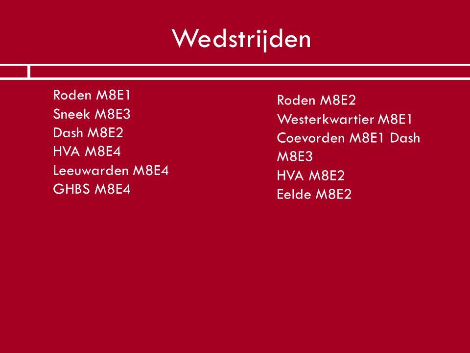 Wedstrijden  Roden M8E1 Sneek M8E3 Dash M8E2 HVA M8E4 Leeuwarden M8E4 GHBS M8E4 Roden M8E2 Westerkwartier M8E1 Coevorden M8E1 Dash M8E3 HVA M8E2 Eeld