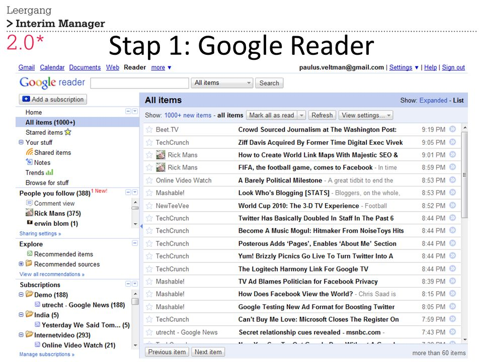 Stap 1: Google Reader 27