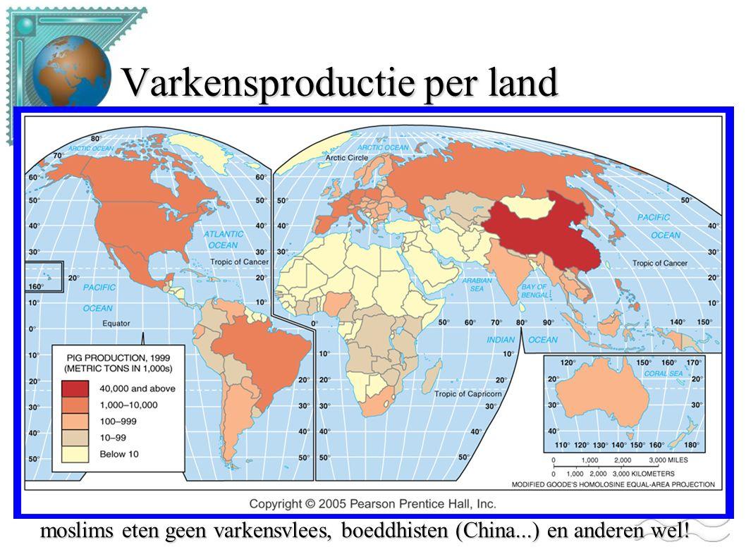 Varkensproductie per land moslims eten geen varkensvlees, boeddhisten (China...) en anderen wel!