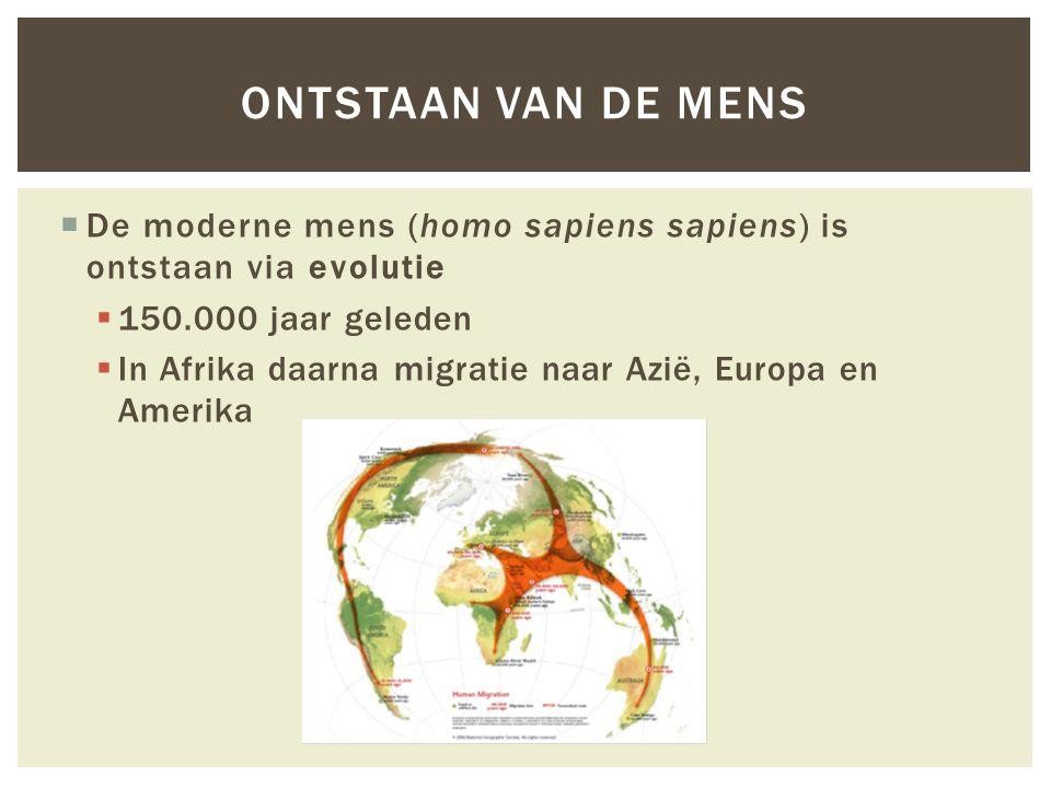  De moderne mens (homo sapiens sapiens) is ontstaan via evolutie  150.000 jaar geleden  In Afrika daarna migratie naar Azië, Europa en Amerika ONTSTAAN VAN DE MENS