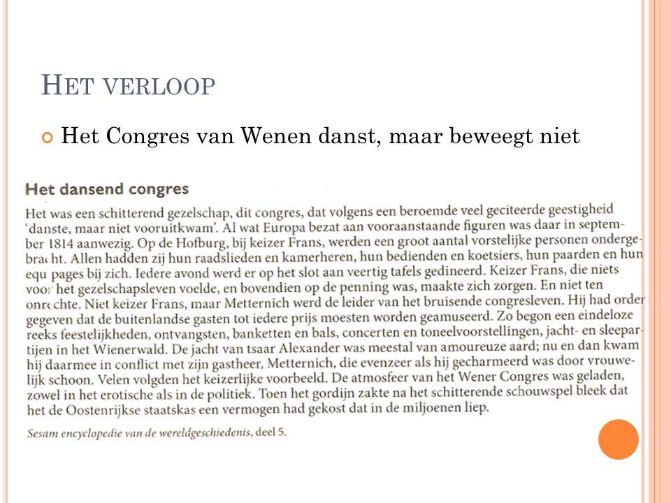 H ET VERLOOP Het Congres van Wenen danst, maar beweegt niet