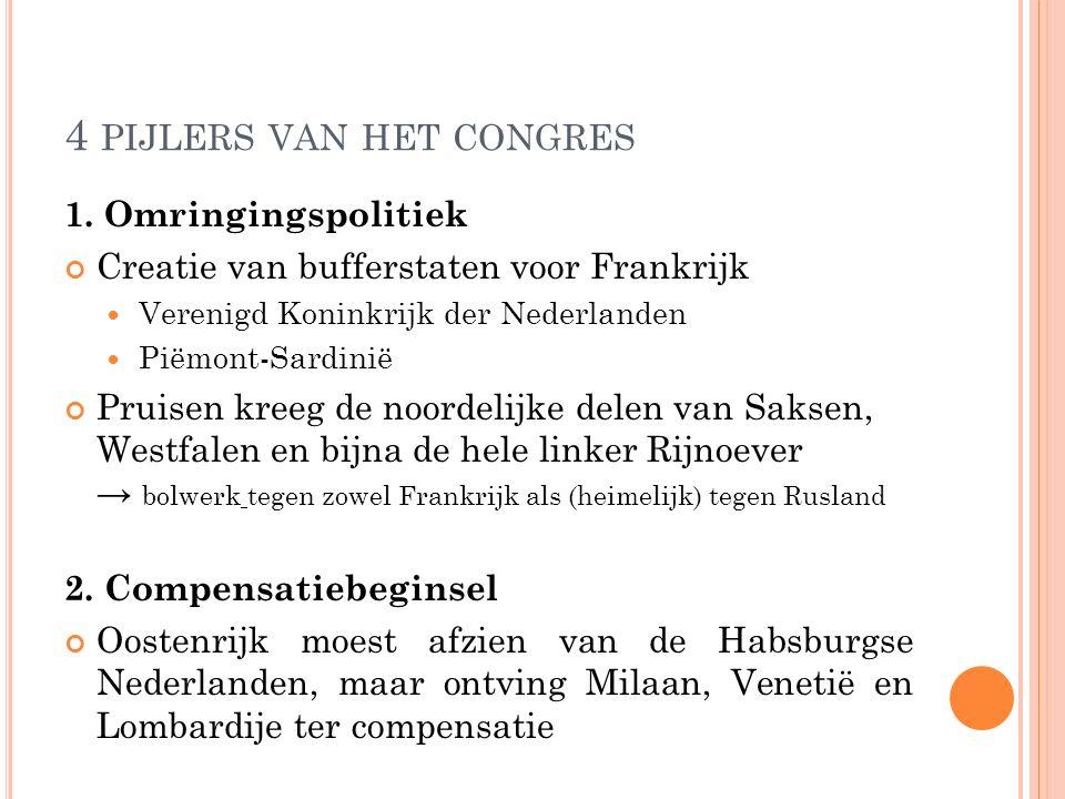4 PIJLERS VAN HET CONGRES 1. Omringingspolitiek Creatie van bufferstaten voor Frankrijk Verenigd Koninkrijk der Nederlanden Piëmont-Sardinië Pruisen k