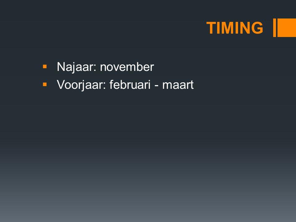 TIMING  Najaar: november  Voorjaar: februari - maart