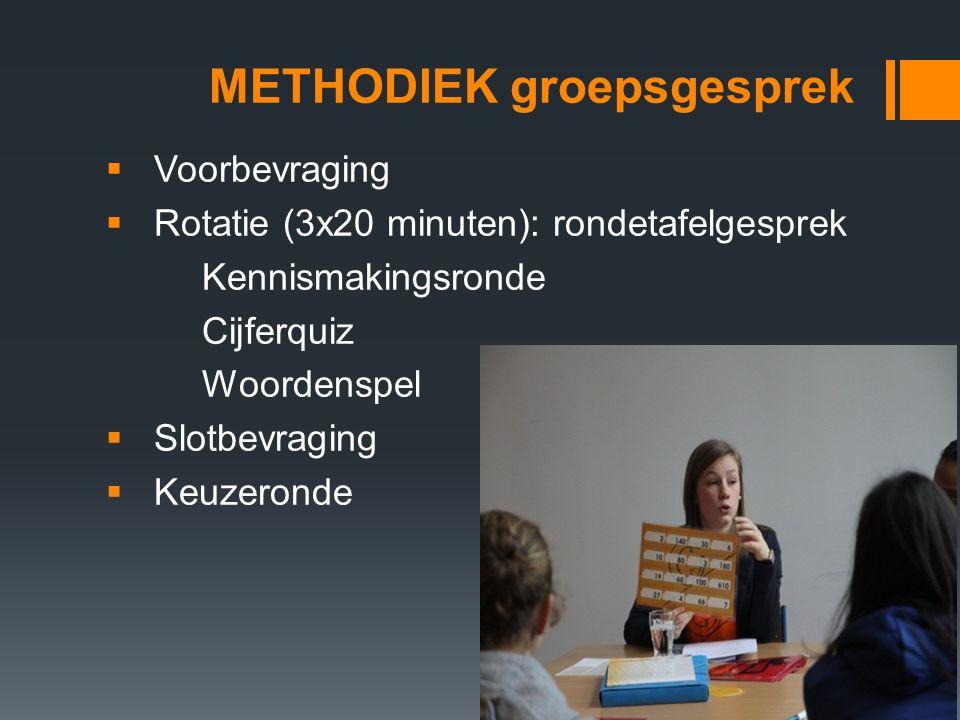 METHODIEK groepsgesprek  Voorbevraging  Rotatie (3x20 minuten): rondetafelgesprek Kennismakingsronde Cijferquiz Woordenspel  Slotbevraging  Keuzeronde