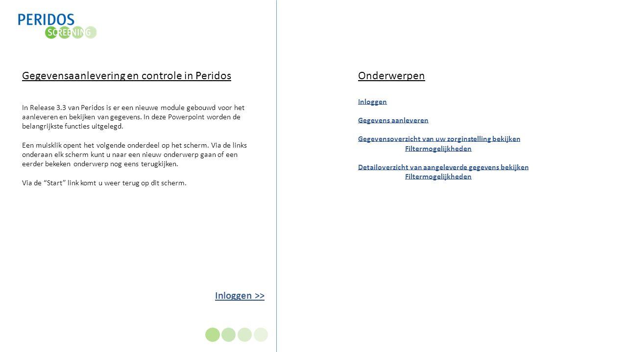 Inloggen >> Gegevensaanlevering en controle in Peridos In Release 3.3 van Peridos is er een nieuwe module gebouwd voor het aanleveren en bekijken van gegevens.