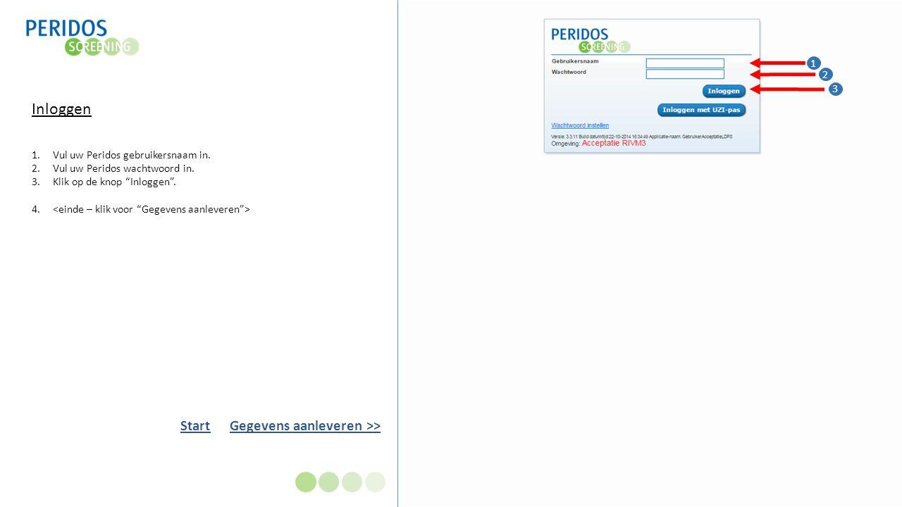 Inloggen 1.Vul uw Peridos gebruikersnaam in. 2.Vul uw Peridos wachtwoord in.