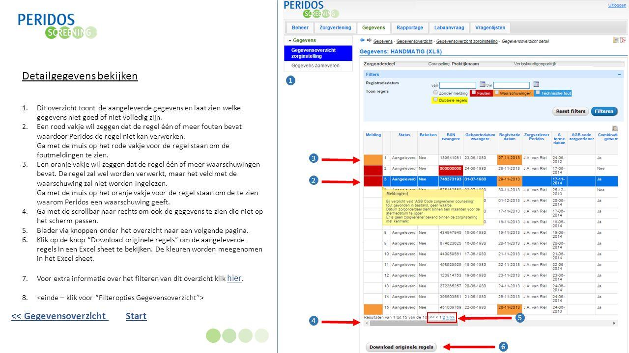 Detailgegevens bekijken 1.Dit overzicht toont de aangeleverde gegevens en laat zien welke gegevens niet goed of niet volledig zijn.
