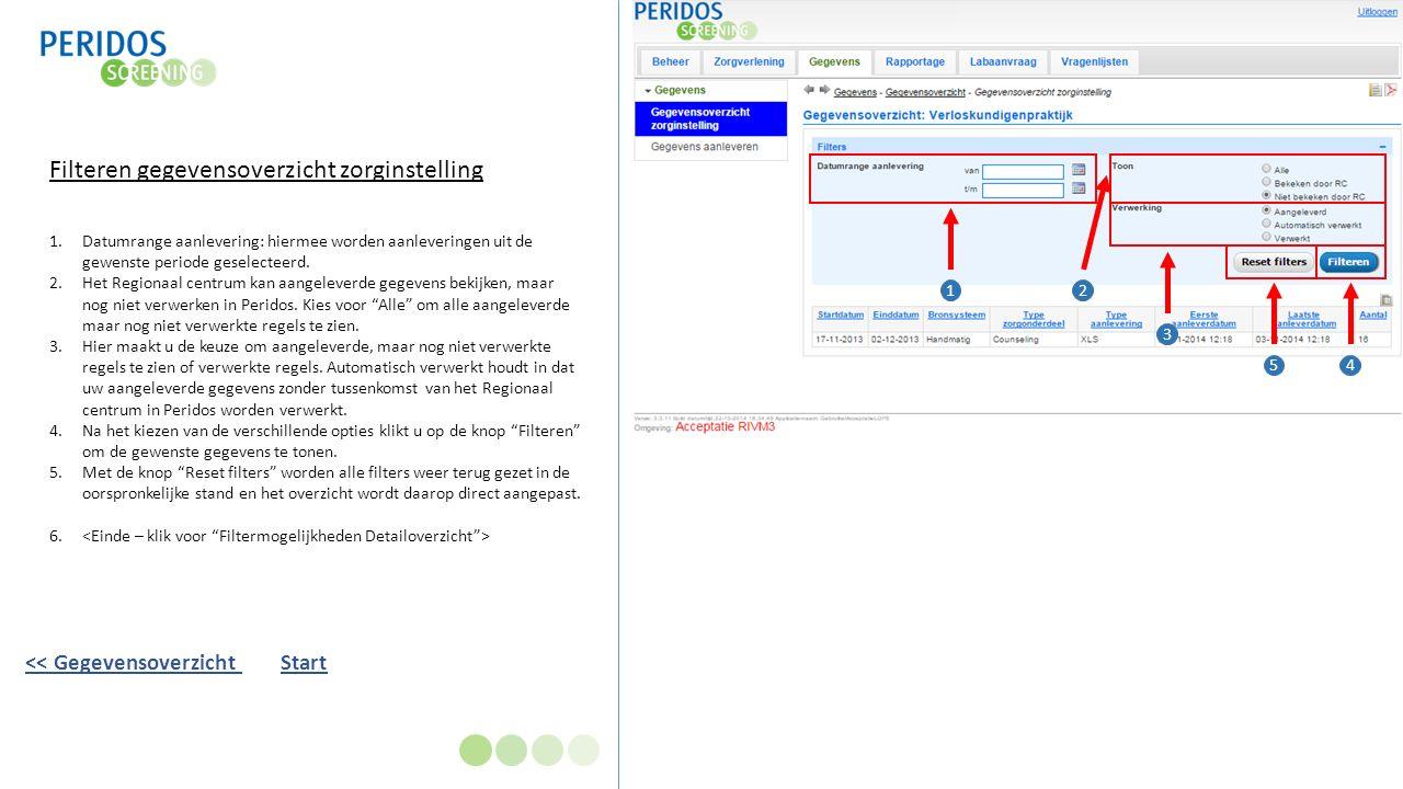 Filteren gegevensoverzicht zorginstelling 1.Datumrange aanlevering: hiermee worden aanleveringen uit de gewenste periode geselecteerd.