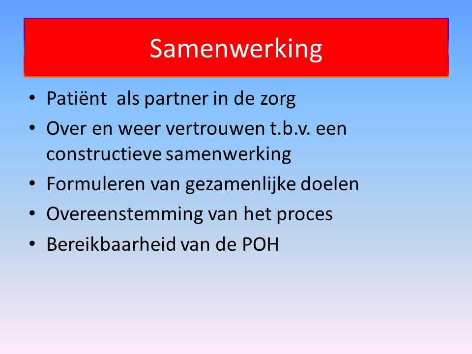 Samenwerking Patiënt als partner in de zorg Over en weer vertrouwen t.b.v. een constructieve samenwerking Formuleren van gezamenlijke doelen Overeenst