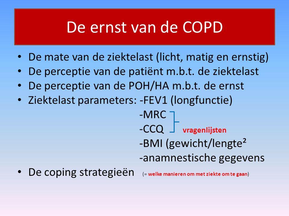 De ernst van de COPD De mate van de ziektelast (licht, matig en ernstig) De perceptie van de patiënt m.b.t. de ziektelast De perceptie van de POH/HA m