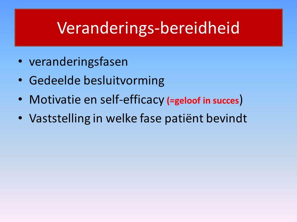 Veranderings-bereidheid veranderingsfasen Gedeelde besluitvorming Motivatie en self-efficacy (=geloof in succes ) Vaststelling in welke fase patiënt b
