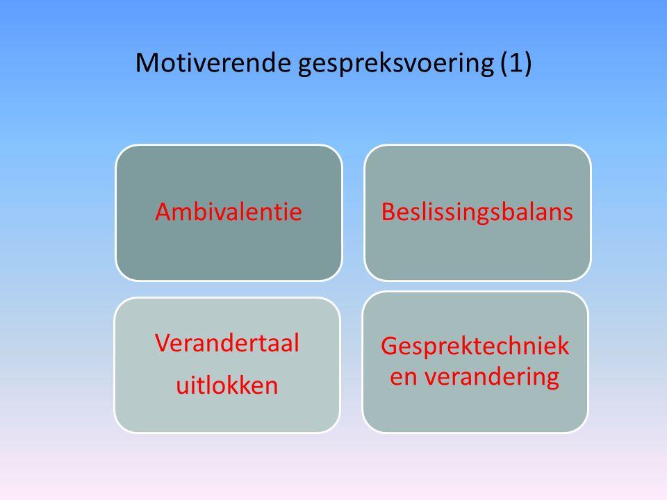 Motiverende gespreksvoering (1) AmbivalentieBeslissingsbalans Gesprektechniek en verandering Verandertaal uitlokken