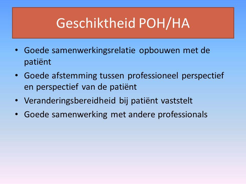 Geschiktheid POH/HA Goede samenwerkingsrelatie opbouwen met de patiënt Goede afstemming tussen professioneel perspectief en perspectief van de patiënt