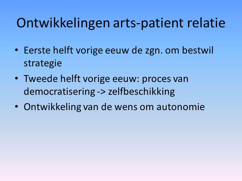 Ontwikkelingen arts-patient relatie Eerste helft vorige eeuw de zgn. om bestwil strategie Tweede helft vorige eeuw: proces van democratisering -> zelf