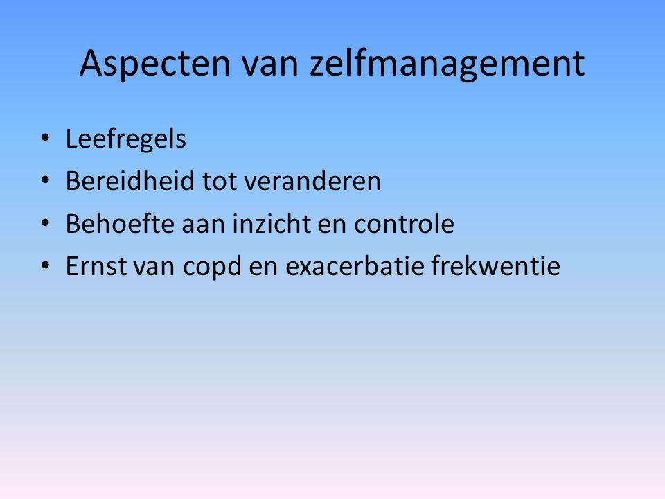 Aspecten van zelfmanagement Leefregels Bereidheid tot veranderen Behoefte aan inzicht en controle Ernst van copd en exacerbatie frekwentie