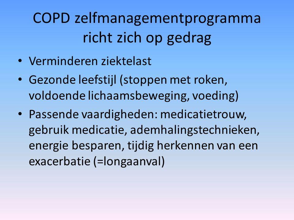 COPD zelfmanagementprogramma richt zich op gedrag Verminderen ziektelast Gezonde leefstijl (stoppen met roken, voldoende lichaamsbeweging, voeding) Passende vaardigheden: medicatietrouw, gebruik medicatie, ademhalingstechnieken, energie besparen, tijdig herkennen van een exacerbatie (=longaanval)