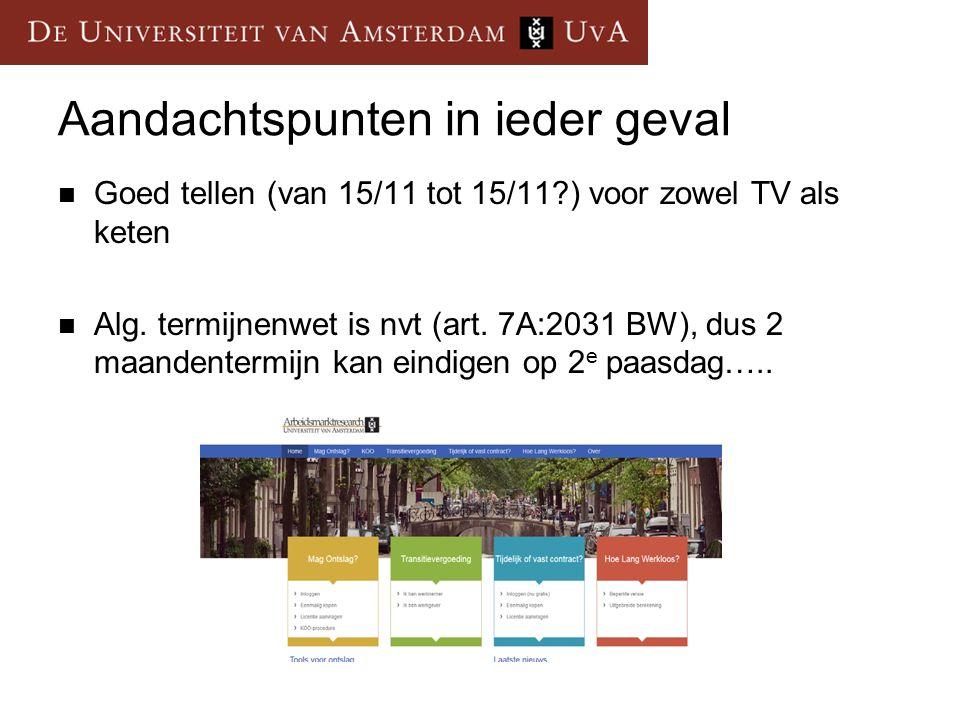 Aandachtspunten in ieder geval Goed tellen (van 15/11 tot 15/11?) voor zowel TV als keten Alg.