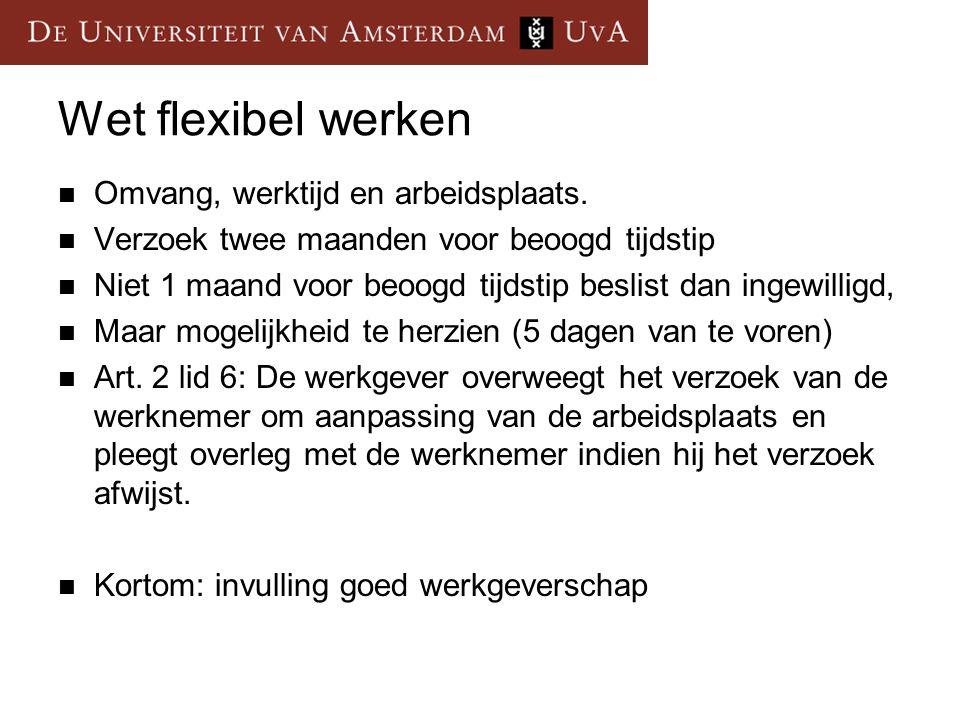 Wet flexibel werken Omvang, werktijd en arbeidsplaats.