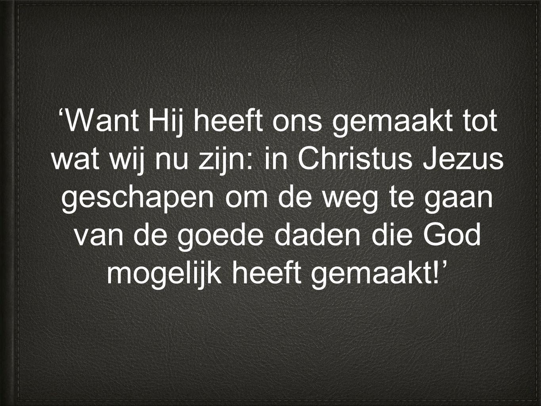'Want Hij heeft ons gemaakt tot wat wij nu zijn: in Christus Jezus geschapen om de weg te gaan van de goede daden die God mogelijk heeft gemaakt!'