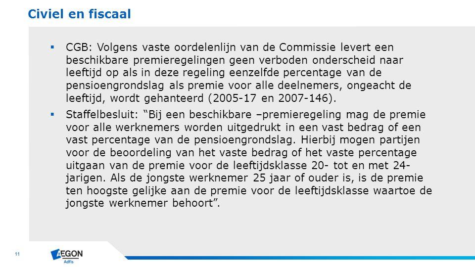 11  CGB: Volgens vaste oordelenlijn van de Commissie levert een beschikbare premieregelingen geen verboden onderscheid naar leeftijd op als in deze r