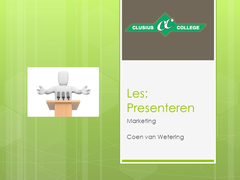 Les: Presenteren Marketing Coen van Wetering