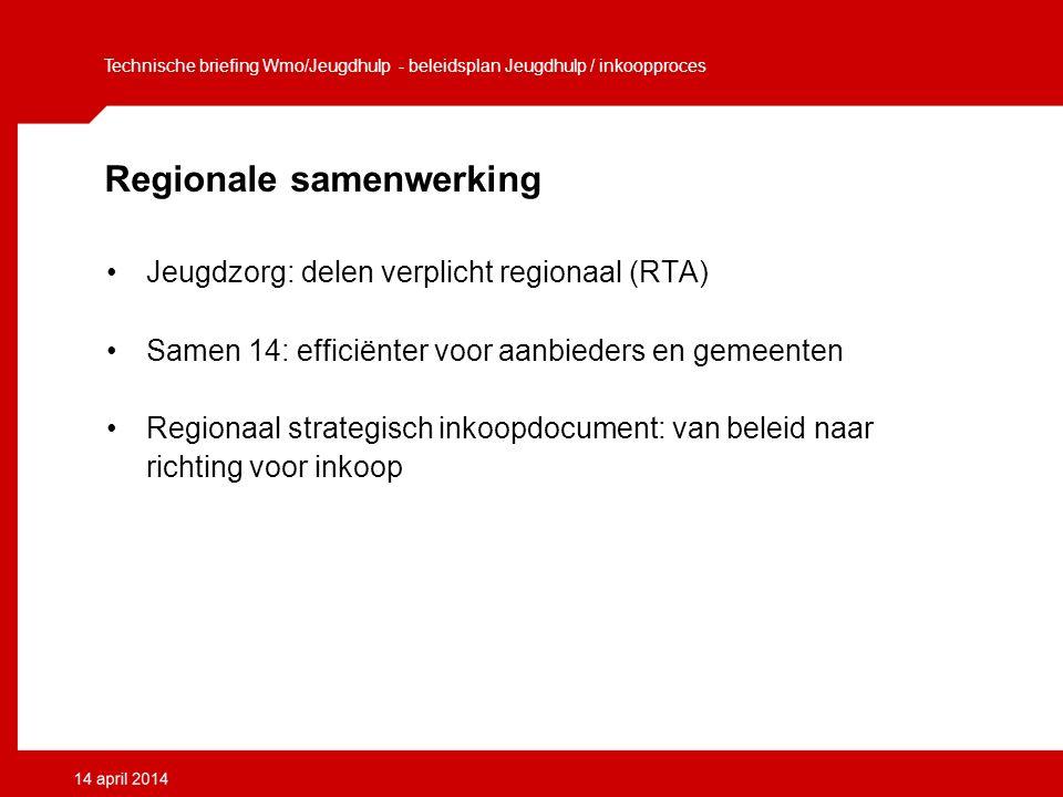 Regionale samenwerking Jeugdzorg: delen verplicht regionaal (RTA) Samen 14: efficiënter voor aanbieders en gemeenten Regionaal strategisch inkoopdocument: van beleid naar richting voor inkoop Technische briefing Wmo/Jeugdhulp - beleidsplan Jeugdhulp / inkoopproces