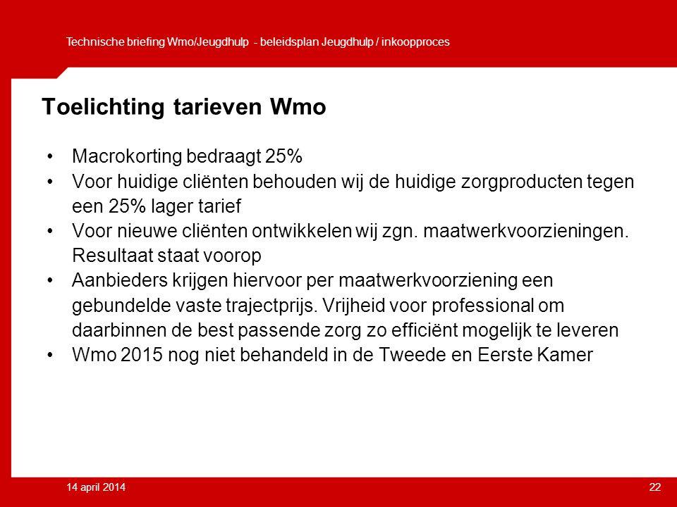 14 april 201422 Toelichting tarieven Wmo Macrokorting bedraagt 25% Voor huidige cliënten behouden wij de huidige zorgproducten tegen een 25% lager tarief Voor nieuwe cliënten ontwikkelen wij zgn.