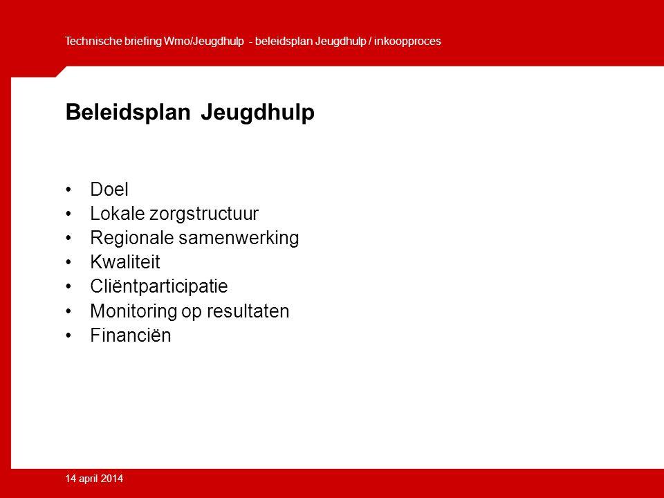 14 april 2014 Beleidsplan Jeugdhulp Doel Lokale zorgstructuur Regionale samenwerking Kwaliteit Cliëntparticipatie Monitoring op resultaten Financiën Technische briefing Wmo/Jeugdhulp - beleidsplan Jeugdhulp / inkoopproces