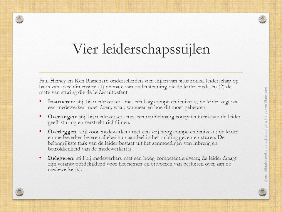 Vier leiderschapsstijlen Paul Hersey en Ken Blanchard onderscheiden vier stijlen van situationeel leiderschap op basis van twee dimensies: (1) de mate