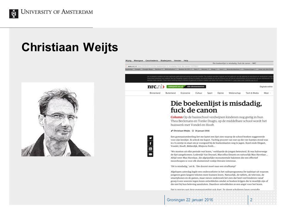Groningen 22 januari 20162 Christiaan Weijts