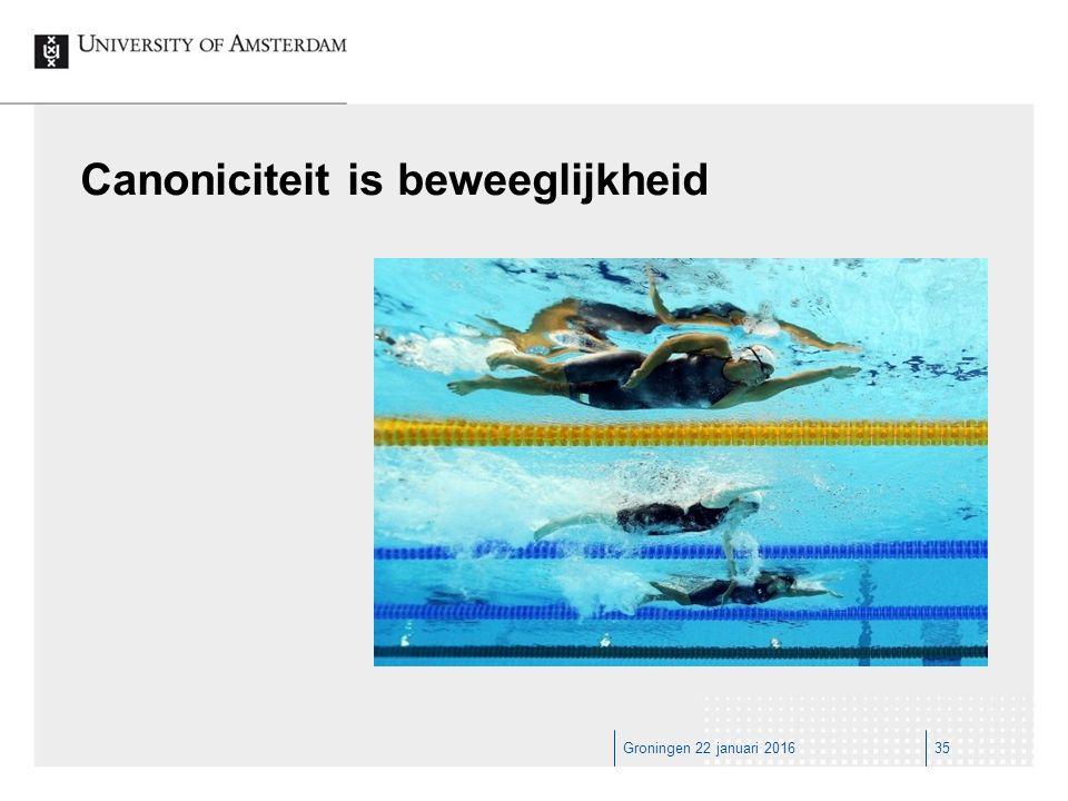 Groningen 22 januari 201635 Canoniciteit is beweeglijkheid