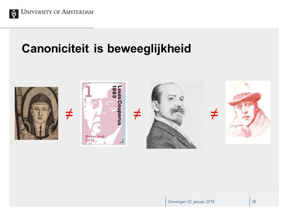 Groningen 22 januari 201636 Canoniciteit is beweeglijkheid ≠≠≠