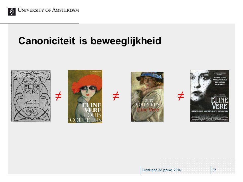 Groningen 22 januari 201637 Canoniciteit is beweeglijkheid ≠≠≠