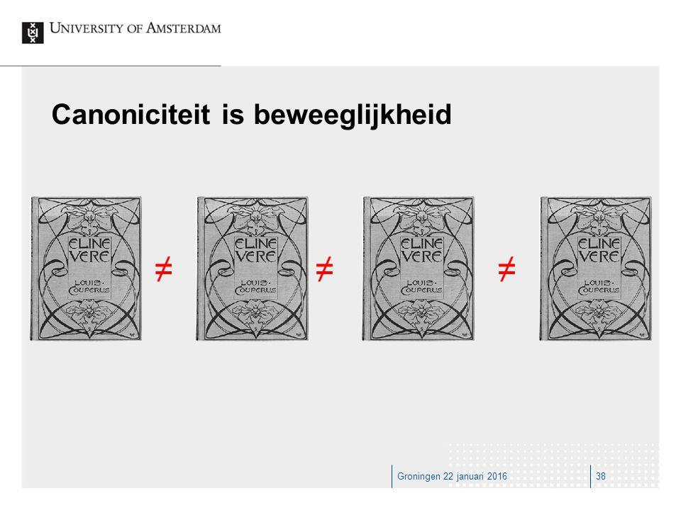 Groningen 22 januari 201638 Canoniciteit is beweeglijkheid ≠≠≠