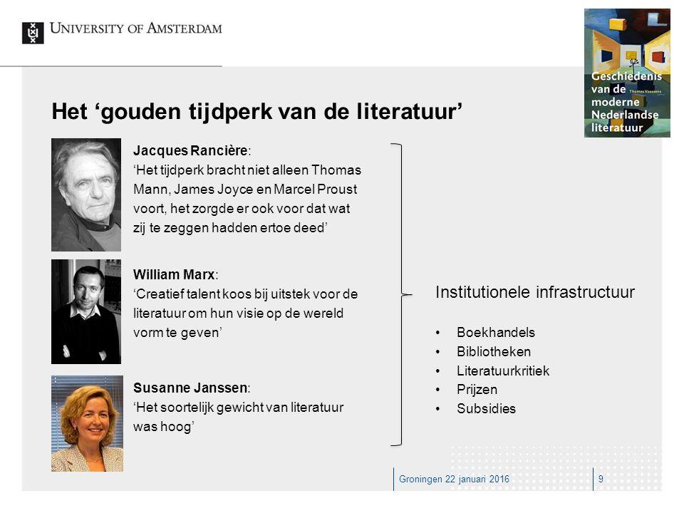Groningen 22 januari 201640 Canoniciteit is beweeglijkheid ≠≠≠ Achtereenvolgende lezers hanteren andere verwachtingen, ze hebben andere vooronderstellingen en beschikken over andere kennis