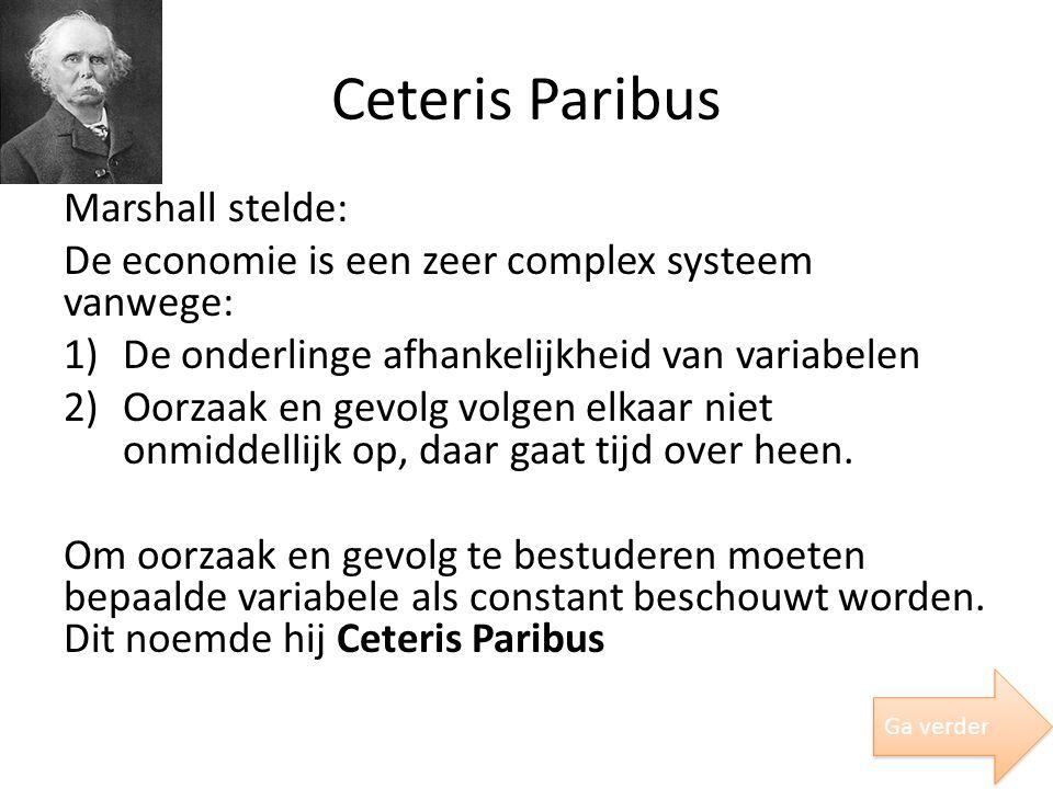 Ceteris Paribus Marshall stelde: De economie is een zeer complex systeem vanwege: 1)De onderlinge afhankelijkheid van variabelen 2)Oorzaak en gevolg v