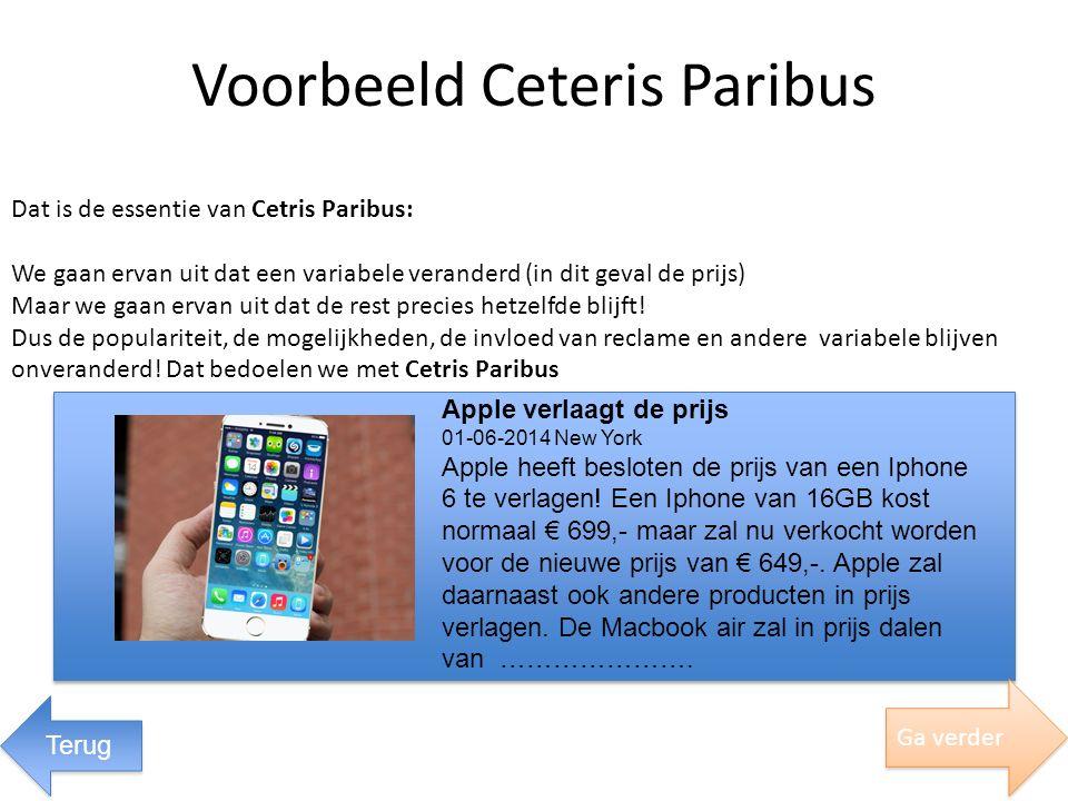 Dat is de essentie van Cetris Paribus: We gaan ervan uit dat een variabele veranderd (in dit geval de prijs) Maar we gaan ervan uit dat de rest precie