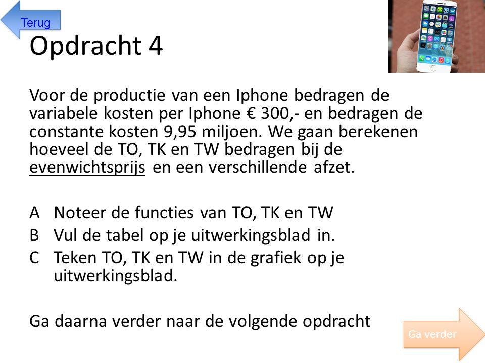 Opdracht 4 Voor de productie van een Iphone bedragen de variabele kosten per Iphone € 300,- en bedragen de constante kosten 9,95 miljoen. We gaan bere