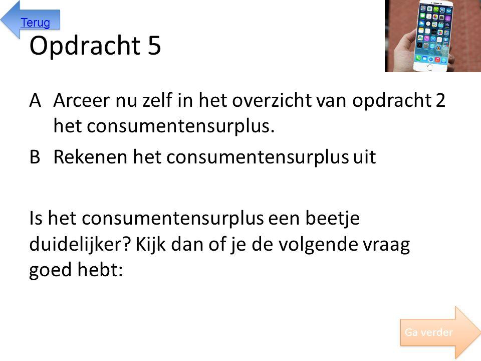 Opdracht 5 AArceer nu zelf in het overzicht van opdracht 2 het consumentensurplus. BRekenen het consumentensurplus uit Is het consumentensurplus een b
