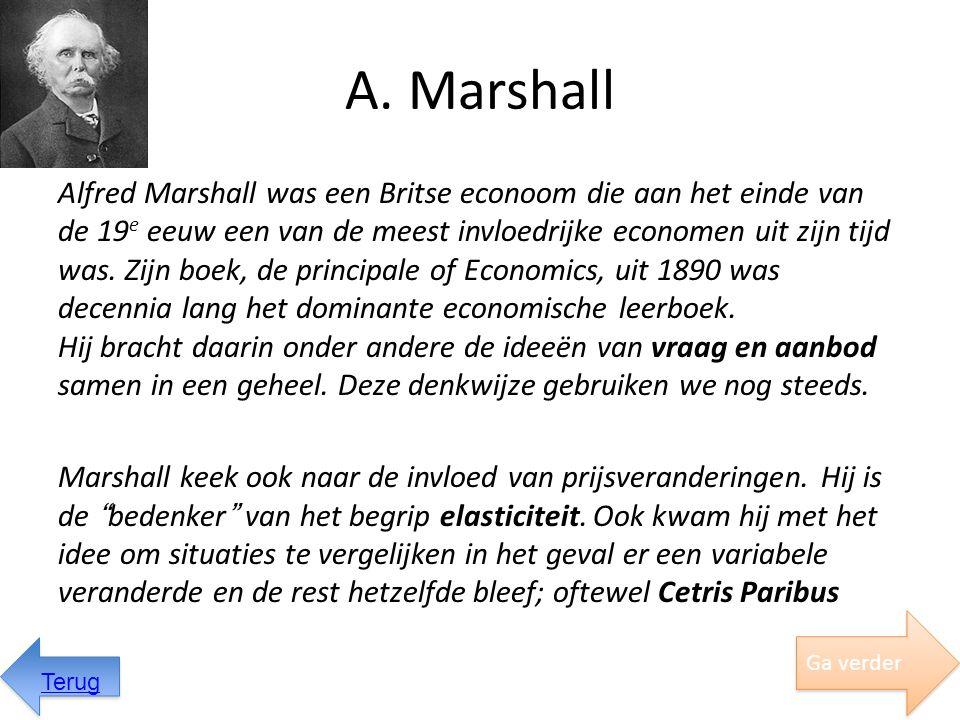 Belastingen Marshall gebruikte het schema van consumentensurplus ook om de invloed van belastingen te verklaren: Stel dat de prijs verhoogt wordt zodat de aanbodlijn verschuift: s  S Hierdoor neemt het consumenten- surplus af met gebied s-F-C-S De belastingopbrengsten nemen toe met gebied s-G-C-S De maatschappij in zijn geheel gaat er dus op achteruit, namelijk het gebied: G-F-C Ga verder Terug