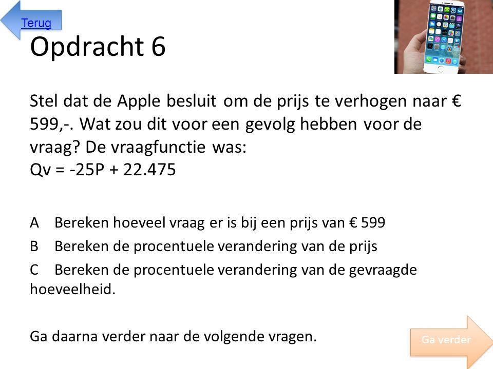 Opdracht 6 Stel dat de Apple besluit om de prijs te verhogen naar € 599,-. Wat zou dit voor een gevolg hebben voor de vraag? De vraagfunctie was: Qv =