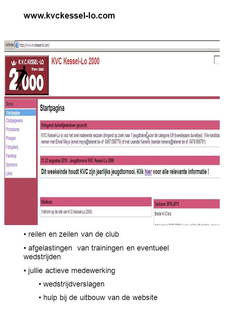www.kvckessel-lo.com reilen en zeilen van de club afgelastingen van trainingen en eventueel wedstrijden jullie actieve medewerking wedstrijdverslagen hulp bij de uitbouw van de website