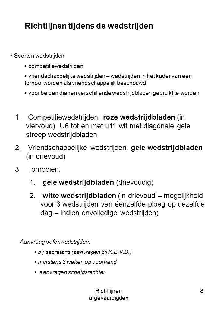 Richtlijnen afgevaardigden 8 Richtlijnen tijdens de wedstrijden Soorten wedstrijden competitiewedstrijden vriendschappelijke wedstrijden – wedstrijden in het kader van een tornooi worden als vriendschappelijk beschouwd voor beiden dienen verschillende wedstrijdbladen gebruikt te worden 1.