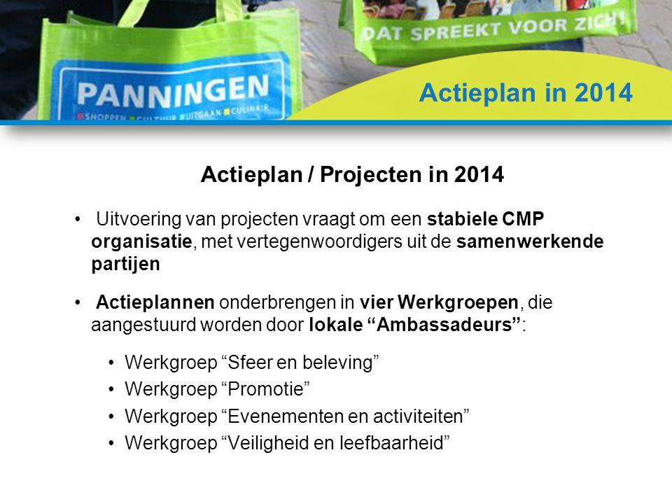Uitvoering van projecten vraagt om een stabiele CMP organisatie, met vertegenwoordigers uit de samenwerkende partijen Actieplannen onderbrengen in vier Werkgroepen, die aangestuurd worden door lokale Ambassadeurs : Werkgroep Sfeer en beleving Werkgroep Promotie Werkgroep Evenementen en activiteiten Werkgroep Veiligheid en leefbaarheid Actieplan / Projecten in 2014 Actieplan in 2014